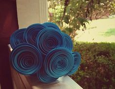 Paper Flower Bouquet 10 Teal Blue/Green by ThePaperFlowerbed