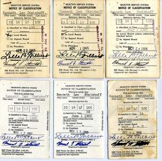 These are some Vietnam draft cards. During the Vietnam war the government was in need of so many soldiers that they had a lottery and brought any man healthy enough into the war. Many people fled the U.S. if they received one. The draft would bring anyone unless the were in college or deemed unfit. I wonder how scary it would be to receive one?