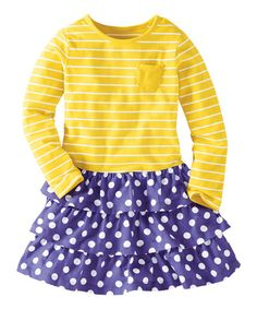 Yellow & Purple Stripes Love Dots Dress - Infant, Toddler & Girls #zulily #zulilyfinds