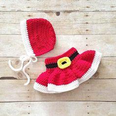 Crochet Baby Christmas Mrs. Claus Skirt Bonnet Hat Beanie Set Girl Dress Infant Newborn Handmade Baby Shower Gift Winter Accessory Clothing Photography Photo Prop - Red Lollipop Boutique