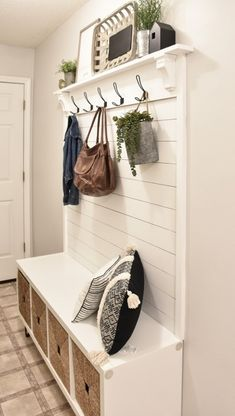 This DIY Hall Tree Bench is the perfect addition for your entryway. Check out the building plans and tutorial on how to build your own Entryway Hall Tree bench. This modern farmhouse hall tree is one you don't wanna miss. Small Entryway Bench, Entryway Decor, Bench Mudroom, Entryway Bench Storage, Entryway Ideas, Hall Storage Ideas, Entryway With Bench, Small Hallway Furniture, Entry Bench Diy