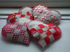 handmade hearts decorations in gray and red colors