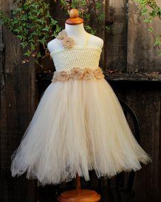 Ivory Flower Girls Tutu Dress for little girls by BloomsNBugs, $75.00