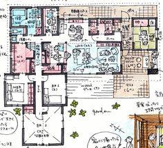 けいかく中 - Soar house – - 名古屋市の住宅設計事務所 フィールド平野一級建築士事務所 Apartment Layout, Japanese Architecture, Modern Interior Design, Design Process, House Plans, Projects To Try, Floor Plans, House Design, Flooring