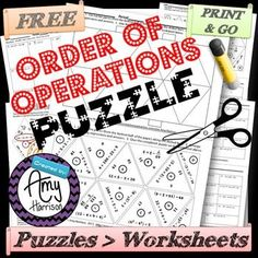 Order of Operations Triangle Matching Puzzle................................................................................................................................  Are you looking for a unique way to review the order of operations?  Puzzles force our students to think, whether they want to or not.