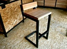 Barstool with Back - steel and reclaimed wood by DangerMade on Etsy