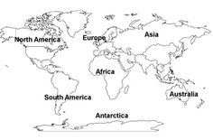 printable outline maps for kids | World Continents Map Free Printout Picture image - vector clip art ...