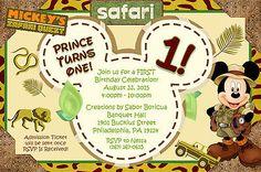 Personalized MICKEY MOUSE SAFARI Birthday Invitation