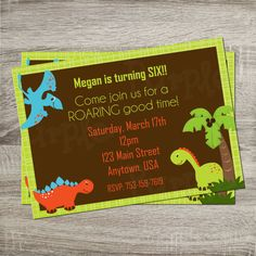 Printable Birthday Party Invitation - Dinosaur Party Green & Brown Background Boy or Girl Birthday 5x7 Invitation http://www.etsy.com/shop/PurpleConfettiPapers