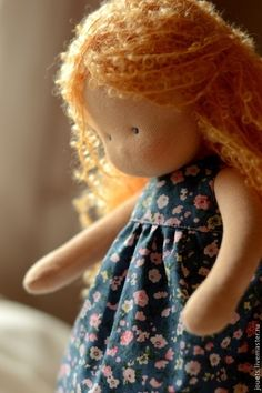 Купить Маруся, маленькая принцесса 34см - кремовый, вальдорфская кукла, вальдорфская игрушка, игровая кукла