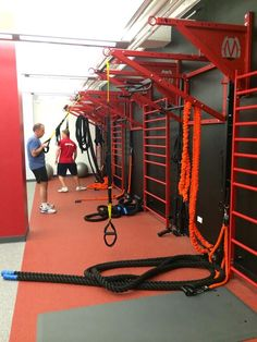 Custom designed wall functional training stations featuring multiple stall bars for group fitness classes. Sports & Outdoors - Sports & Fitness - home gym Fitness Gym, Fitness Studio, Fitness Classes, Group Fitness, Fitness Women, Home Gym Equipment, No Equipment Workout, Fitness Equipment, Dojo