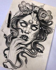 Medusa Tattoo Design, Tattoo Design Drawings, Tattoo Sketches, Tattoo Designs, Body Art Tattoos, New Tattoos, Sleeve Tattoos, Rosen Tattoo Frau, Witch Tattoo