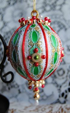 christmas royale handcrafted beaded victorian christmas ornament i think i could make this with the red balls and lace i already have - Christmas Ball Decoration Ideas