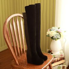European Style Elegant Over-the-Keen Faux Leather Wedge Boots