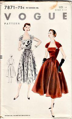 1950's Retro Sewing Pattern VOGUE 7871 1952 by shellmakeyouflip, $42.50