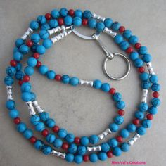 Southwestern Turquoise Red and Silver Beaded by missvalscreations