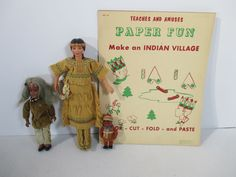 Dolls and Activity Pad Village Native Americans Indian Maiden Avon Vtg Lot of 4 #DollswithClothingAccessories