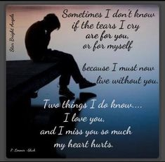I love you and I miss you so much my heart hurts constantly...