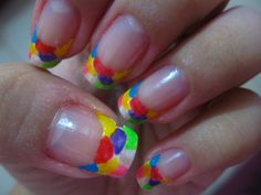 Awesome nail art design, colorful french tip Pretty Nails French Nail Art, French Nail Designs, Colorful Nail Designs, French Tip Nails, Simple Nail Designs, Acrylic Nail Designs Coffin, Nail Polish Designs, Acrylic Nails, Multicolored Nails