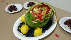 Watermelon carved wave basket with crab and lemon fishes.