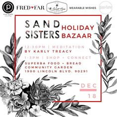 This Sunday we're excited to join the Sand Sisters Holiday Bazaar @superbafoodandbread in Venice CA! Come shop with 15% going to this incredible youth empowerment non-profit! We can't wait to meet you in person.     #fredandfar #loveyourself #selflovepinkyring #selflove  #selflovemovement #lovemytribe #sandsistersla #girlpowerful #shopwithacause #venice #california #shoplocal #localsonly #artisans #venicelocal #caligirls #archerandarrow #purebarre #alo #weekendwarriors #holiday…