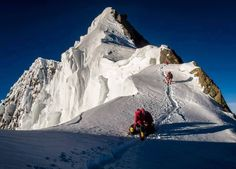 Approaching the summit of Broad Peak (8,051 m), part of Gasherbrum massif in Baltistan on the border Pakistan-China.