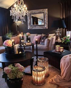 Recent living room paint ideas grey sofa only in zelta home design 2020 Living Room Design Ideas Glam Living Room, Living Room Decor Cozy, Living Room Goals, Living Room Paint, Living Room Interior, Home And Living, Romantic Living Room, Living Room Decor With Black Sofa, Black Living Rooms