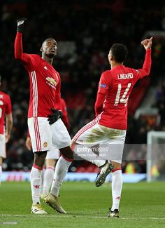 Jesse Lingard of Manchester United celebrates with Paul Pogba after scoring the fourth goal to make the score during the UEFA Europa League match between Manchester United FC and Feyenoord at Old Trafford on November 2016 in Manchester, England. Jesse Lingard, Paul Pogba, Manchester United Team, Manchester England, Ibrahimovic Wallpapers, Football Boys, Football Stuff, Soccer Stadium, Football Wallpaper