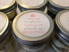 Cupcakes In A Jar-Mason Jars- I promise no ugly dress if you'll say yes! please be my bridesmaid?- Gift for bridesmaids-Gifts for Wedding Party-Pink-Rose