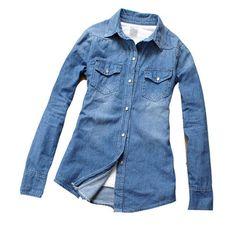 Girl Women Retro Long Sleeve Cool Blue Jean Denim Vintage Shirt Tops Blouse Hot   eBay