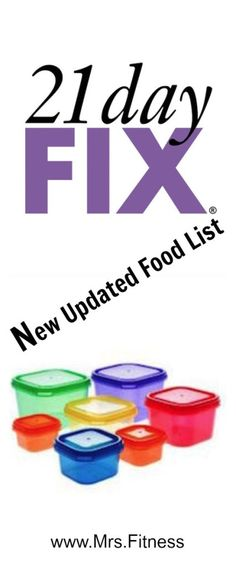 The 21 Day Fix Approved Food List has been updated!!! See what new foods you can work into your 21 Day Fix Meal Plan and Recipes! More at www.Mrs.Fitness