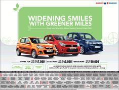 View Maruti Suzuki Widening Smiles With Greener Miles Ad newspaper. This Ad is collection of Sample Ad at Advert Gallery. Car Advertising, Ads, Car Banner, Smile, Times, Gallery, Green, Check, Logos