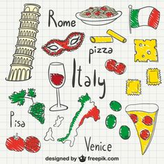 More than 3 millions free vectors, PSD, photos and free icons. Exclusive freebies and all graphic resources that you need for your projects Italian Flag Colors, Countries And Flags, Italy Landscape, Thinking Day, Travel Illustration, Learning Italian, Custom Mouse Pads, Italy Vacation, Italy Travel