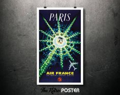 1964 Paris - Air France - The World's Largest Airline Vintage Travel Tourism Poster // High Quality Fine Art Reproduction Giclée Print by TheRetroPoster on Etsy