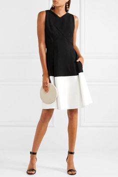 Black and white crepe Zip fastening through back 67% polyester, 29% viscose, 4% elastane; lining: 68% acetate, 32% polyester Dry clean Imported