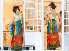 Cream and Blue Jute Silk and Pure Printed cotton Long Kurti with 40 size.(Catalog - 5417)