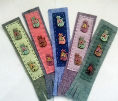 Cat bookmark felt bookmark handmade bookmark wooden cat