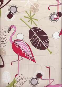 30welo - This fun cotton apparel weight fabric features abstract atomic, sixties, 60's, flamingo, space-age motifs. While it lasts it's available in silver, natural pink and Turquoise background colors.  More fabrics at: BarkclothHawaii.com