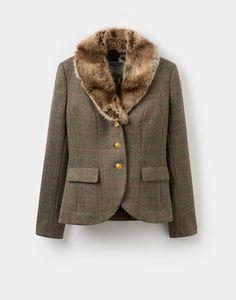 Joules Willa Faux Fur Tweed Blazer