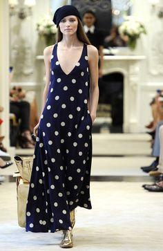 Casual Chic: dark navy beanie + loose fitting white polka dots print navy dress Ralph Lauren Resort 2015  #Cruise2015 #fashion