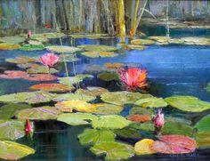 Amazon.com Art: Grand Lily Pond : Oil : Kent Wallis