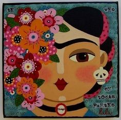Frida Kahlo Flowers 8 x 8 PRINT of painting by LuLuMyPinkTurtle. $15.00, via Etsy.