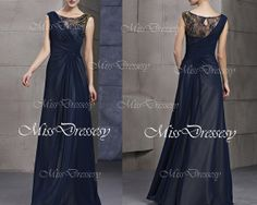 A Line Straps Lace and Chiffon Floor Length Dark Navy Long Evening Dress, Prom Dresses, Wedding Party Dress, Evening Gown, Formal Gown