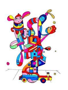 Pylokraten IX von Etelka Kovacs-Koller - mad for art auf DaWanda.com Smurfs, Illustration, Artworks, Mad, Etsy, Fictional Characters, Drawing S, Illustrations, Fantasy Characters