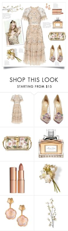 """Lets go on a romantic date, darling"" by the-octobre ❤ liked on Polyvore featuring Needle & Thread, Christian Louboutin, Dolce&Gabbana, Christian Dior, Charlotte Tilbury, National Tree Company, Pasquale Bruni and Pier 1 Imports"