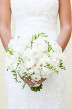 Mostly white bouquet with bits of light green.  Photography: Allyson Wiley Photography - www.allysonwiley.com  Read More: http://www.stylemepretty.com/california-weddings/2014/05/24/romantic-garden-inspired-wedding/