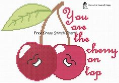 You Are The Cherry on Top Free Cross Stitch Pattern