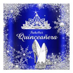 Royal Blue Quinceanera Silver Tiara 15th Birthday Invitation