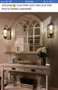 Mirror is from kirklands. Sconces are battery powered from decor steals. Table drom Magnolia Home New Living Room, Home And Living, Living Room Decor, Living Room Designs, Foyer Decorating, Decorating Ideas, Entryway Decor, Foyer Table Decor, Mantelpiece Decor