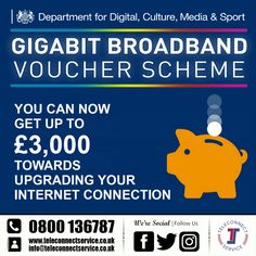 Get up to off to upgrade your internetconnectivity with the departmentforculturemediaandsport voucher scheme from Teleconnect. Leeds, Budgeting, Connection, Internet, Digital, Business, Instagram Posts, Budget Organization